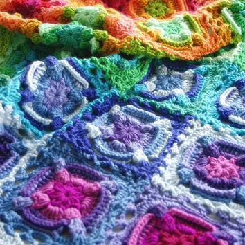 Crochet Pattern, Kaleidoscope Eyes Blanket, Throw, Afghan, Baby