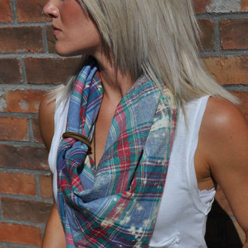 Plaid Flannel Scarf Hand Bleached with Leather Loop Detail