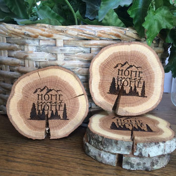 Set of Four Wood Coasters, Engraved Coasters, Wood Slice Coasters, Home Sweet Home Coasters, Wedding Gift, Housewarming Gift, Tree