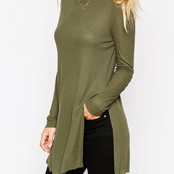 Army Green Long Sleeve Split Blouse