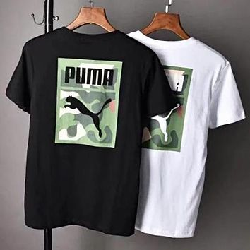 PUMA Stylish Men Women Casual Camouflage Print Round Collar T-Shirt Top Blouse