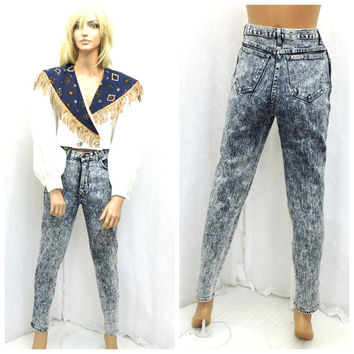 Vintage 80s acid washed high waisted jeans size 5 / 6 1980s high waist stonewashed retro jeans waist 28 inseam 30 SunyBohoVintage