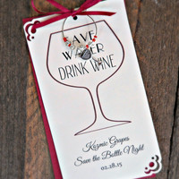 Custom Wine Charm Favors for Birthdays , Bachelorette Parties , Weddings , Engagement Party, Wine Tastings