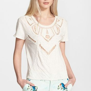 Women's Alice + Olivia 'Cadby' Beaded Eyelet Linen Top