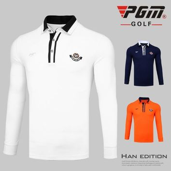 Pgm Men Golf T Shirts Long-Sleeved Button Collar Polo Shirts Breathable Sports Tops Sports For Male Quick Dry Golf Apparel D0356