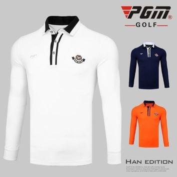 Pgm Men Golf T Shirts Long-Sleeved Button Collar Polo Shirts Bre
