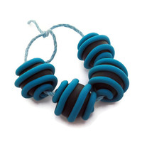 Beads handmade polymer clay black & turquoise set of 4