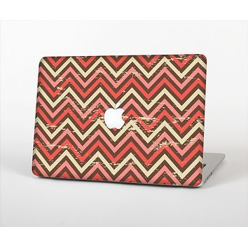 """The Scratched Coral & Brown Layered Chevron V3 Skin Set for the Apple MacBook Air 13"""""""