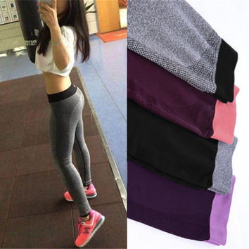 S-XL 4 Colors Women's Legging Fashion Workout Polyester Bodybuilding High Waist Clothing Elastic Leggings 9e 6a