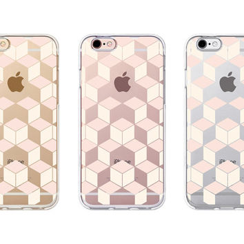 iPhone Case - 'Hexagonal black' - iPhone 6s case, iPhone 6 case, iPhone 6+ case - Clear Flexible Rubber TPU case J29