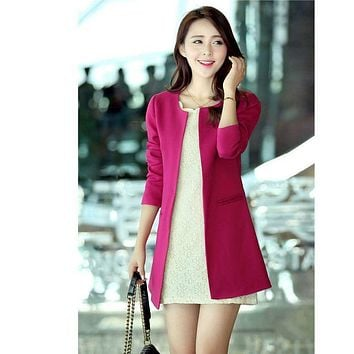 2016 Spring Women's  Blazers O-Neck Pockets Solid Fashion Slim Long Cardigans  Overcoat  ,Color :Black , Rosy red,  Blue, Beige