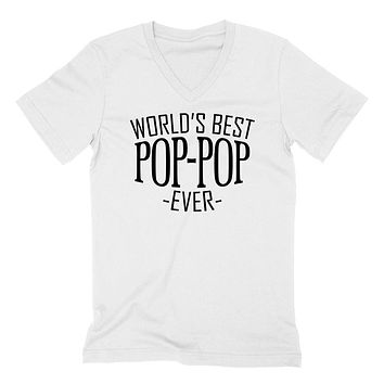 World's best pop pop ever  family father's day birthday christmas  gift ideas  best grandpa  grandfather  V Neck T Shirt
