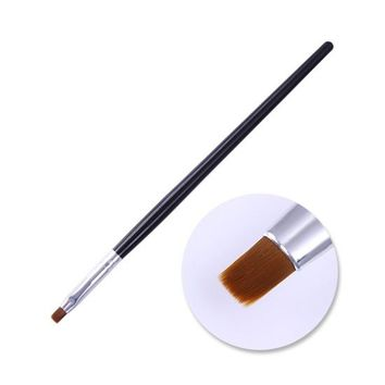 Wood Handle Powder Dust Clean Nail Brush Acrylic Drawing Painting Cleaning Flat Pen Manicure Nail Art Tool Brush