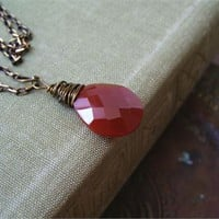 Red Carnelian Briolette Necklace, Gemstone Teardrop Charm Necklace Minimalist