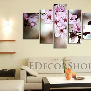 Large Wall Art CANVAS Print - Blossom Cherry Large Size Canvas Print, Almond Tree Canvas Print, Botanical Decor Theme
