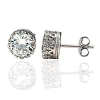 Austin: 8mm 4.0ct Brilliant-cut Russian Ice on Fire CZ Crown Set Stud Post Earrings 925 Silver, 0332