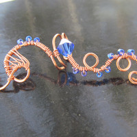 Blue Beaded Copper Wire Ear Cuff- Copper Wire Wrapped Ear Accessory, Embellishment- Handmade Spiral Jewelry