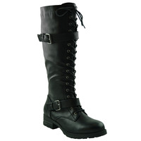 Womens Knee High Boots Faux Leather Lace Up Buckle Straps Shoes black