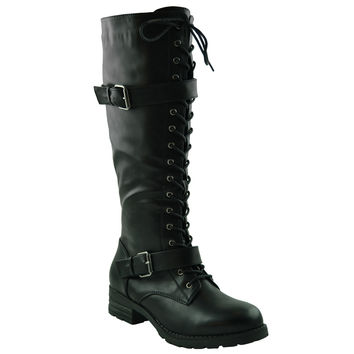 Womens Knee High Lug Sole Combat Boots Black