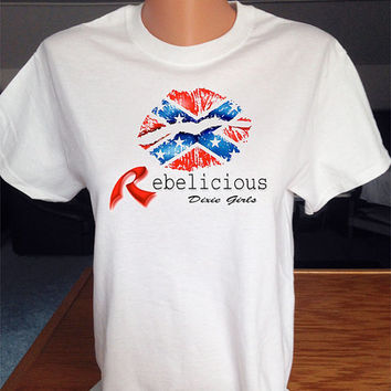 Rebelicious Dixie Girls T-Shirt with Rebel Flag Lips Print.