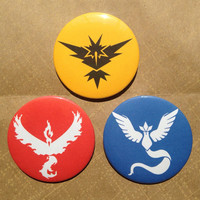 "Pokemon Go Pin Button Set: Yellow Team Instinct + Blue Team Mystic + Red Team Valor / 2.25"" Pins"