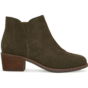 Me Too Zetti - Moss Suede Dual Gore Pull-On Low Block Heel Bootie