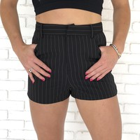 Black Pin Stripe Shorts