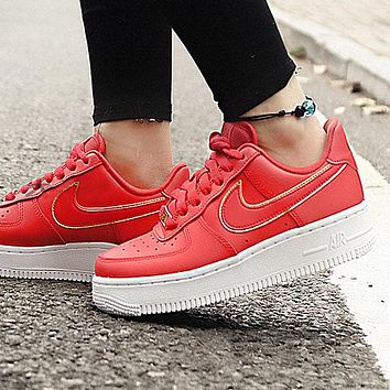Nike Air Force 1 Fashionable Women Leisure Sport Running Shoes Sneakers Red&Golden