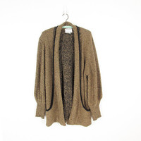 Vintage Bouclé Cardigan Sweater, Beige & Black Nubby Oversized Sweater, Long Slouchy Shawl Collar Cardigan with Pockets -- Womens L
