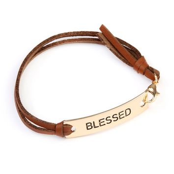 Blessed Leather Strap Message Bracelet