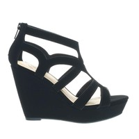 People Black Nubuck by Delicious, Cage Platform Wedge Sandal w Strappy Cut Out, Women's Gladiators