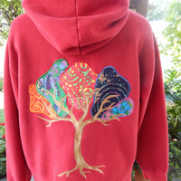 Batik Tree Upcycled Zip Up Hoodie Vintage Flower Trim OOAK Size XL Patchwork  Hippie clothes, boho chic, zip up jacket festival