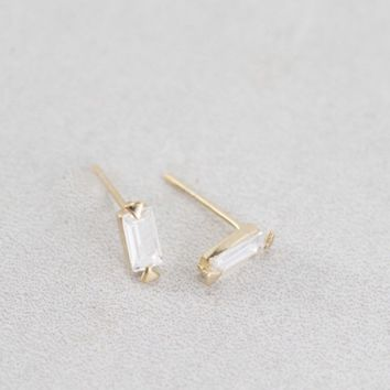 Clear Gem 14K Earring