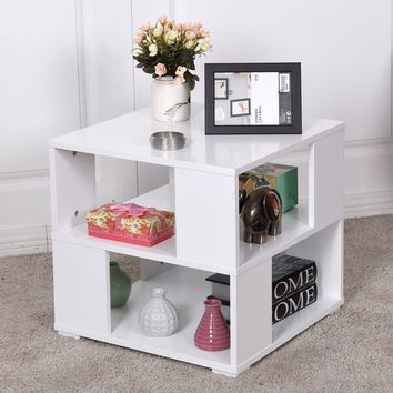 Modern White Wooden Square Coffee Table for Living Room with Storage Cube Shelves