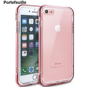 Portefeuille For iPhone 7 Case Hybrid Soft TPU Protective Shockproof Hard PC Frame Cover for iPhone 8 Plus X 6 6S 5 5S SE Coque