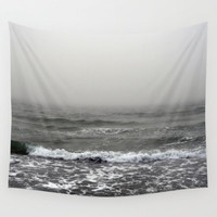 Into the Abyss - Wall Tapestry, Gray Ocean Fog Landscape Decor, Coastal Beach House Hanging Accent Interior. In Small, Medium and Large Size