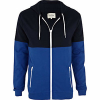 Blue two-tone zip through hoodie