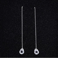 Korean Simple Design Crystal 925 Silver Tassels Earrings [7495278343]