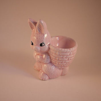 Vintage Pink Bunny Egg Cup