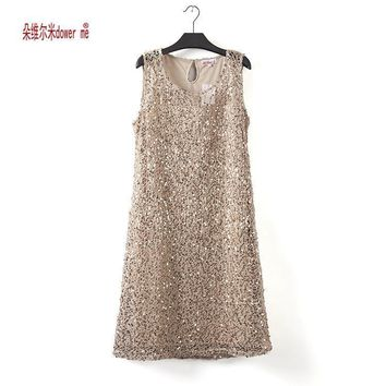Women Full Sequins Lace A Line Party Dress