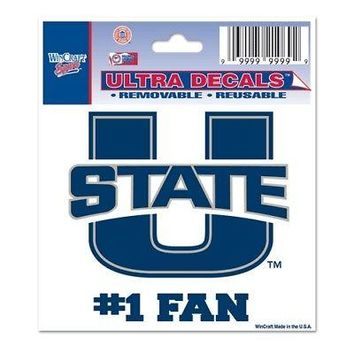 "Licensed Utah State Aggies Official NCAA 3"" x 4"" Car Window Cling Decal Utah St Wincraft KO_19_1"