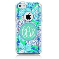 iPhone 5c Case [White] Lilly Monogram Blue [Dual Layer] Unnito1 Year Warranty Case Protective [Custom] Commuter Protection Cover [Hybrid]