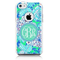 iPhone 5c Case [White] Lilly Monogram Blue [Dual Layer] UnnitoTM *1 Year Warranty* Case Protective [Custom] Commuter Protection Cover [Hybrid]