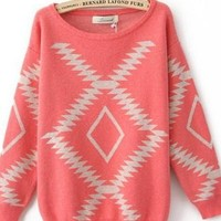 Pink Vintage Geometry Loose Sweater