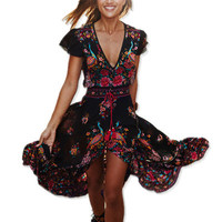2017 Summer Boho Dress Ethnic Sexy Print Retro Vintage Dress Tassel Beach Dress Bohemian Hippie Dress Robe vintage Vestidos
