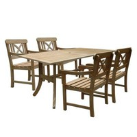 Vifah Renaissance Acacia 5-Piece Patio Dining Set with 35 in. W Table and Cross-Back Armchairs-V1300SET8 - The Home Depot