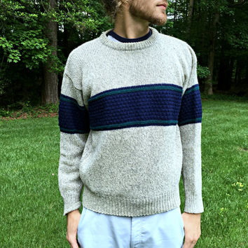 Vintage Ragg Wool Sweater by Authentic Issue - Light Gray Heather w/ Navy, Teal Stripe - Crewneck Pullover - Mens Size Medium (M)