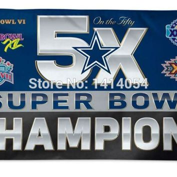 Dallas Cowboys NFL 5x Super Bowl Champs Flag  150X90CM Banner 100D Polyester3x5 FT flag brass grommets 001, free shipping