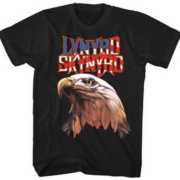 GILDAN Short Sleeves Cotton Fashion Free Shipping Lynyrd Skynyrd Americana Men's Eagle T-shirt , Black