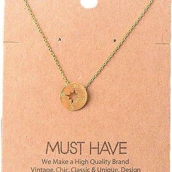 Must Have-Compass Necklace, Gold